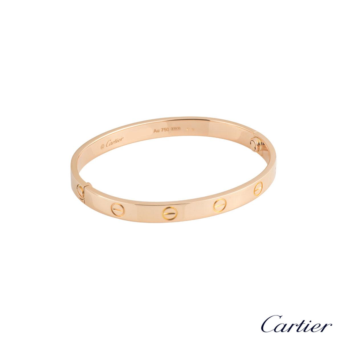 CartierRose Gold Plain Love Bracelet Size 19 B6035619